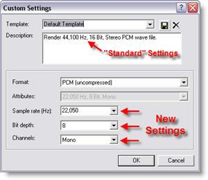 Custom Settings for Presentation .Wav files