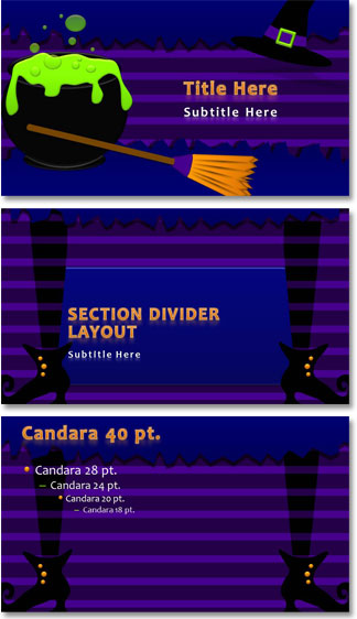 Halloween themed powerpoint template the powerpoint blog the template is native to ppt 2010 169 aspect ratio and features several layouts including a great animated title slide note all elements on the title toneelgroepblik Image collections