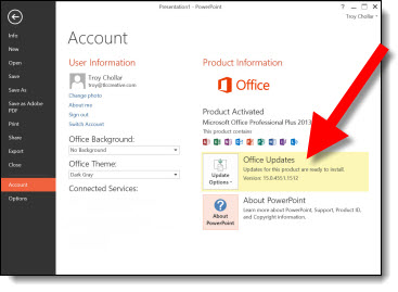 how to update the office 2013