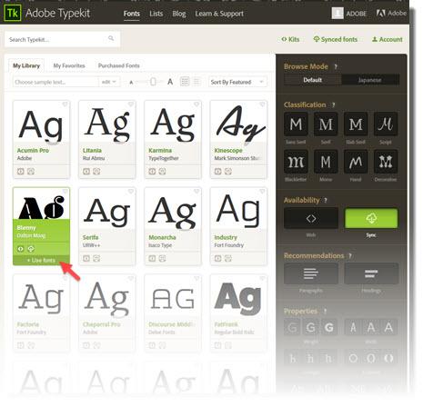 adobe typekit menu